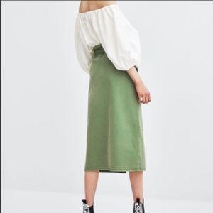 Zara Skirts - Zara Trf Green Denim Skirt